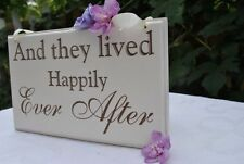 And They Lived Happily Ever After Wedding Sign, Hand Painted & Laser Etched.