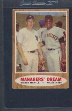 1962 Topps #018 Mickey Mantle Willie Mays VG *368