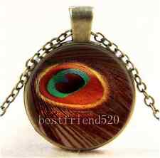Vintage Gold Peacock Feather Cabochon Glass Bronze Chain Pendant Necklace