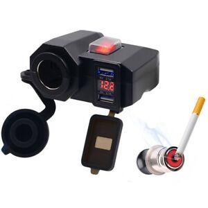 12V Dual USB Motorcycle Cigarette Lighter Waterproof Power Port Outlet Socket US