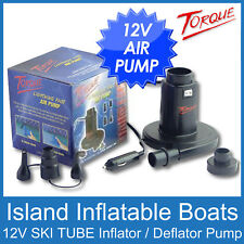 TORQUE 12V INFLATOR - DEFLATOR AIR PUMP for Inflatable Ski Biscuit Tube Air Bed