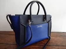 CALVIN KLEIN Ink BLUE BLACK Saffiano LEATHER SATCHEL Crossbody Bag TOTE EUC