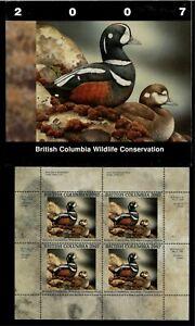 BRITISH COLUMBIA  #13 2007 HARLEQUIN CONSERVATION STAMP MINI SHEET IN FOLDER