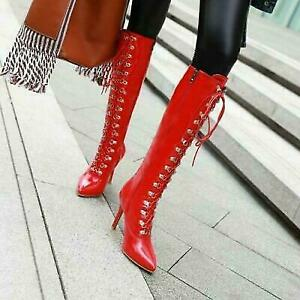 Womens Stiletto Clubwear Knee High Boots High Heel Lace Up  Boots plus sz