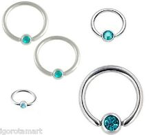 Silver Blue Gem titanium captive bead rings, eyebrow, earring hoop, helix
