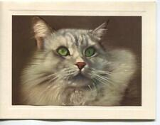 Vintage Norwegian Forest Cat White Light Gray Green Eyes Lithograph Note Card