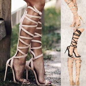 Summer Fashion Strappy Knee High Gladiator Stiletto Heel Pumps Sandals Shoes G32