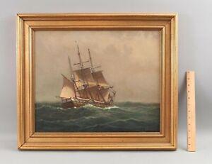 Antique C MYRON CLARK American Armed Frigate Ship Maritime Seascape Oil Painting