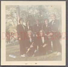 Vintage Color Photo Teen Boys in Long Hair Marching Band Flute Music 676438