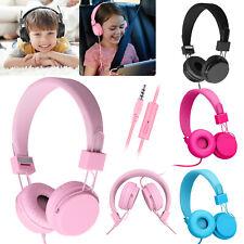 Kids Wired Stero Headphone On-Ear Headset Headband Earphone+Mic for Phone PC Mac