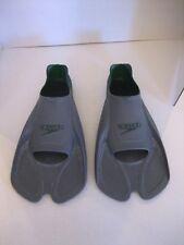 Speedo Bio Fuse Unisex Grey & Green Rubber Training Swim Fins Sz 7-8 Pre-Owned
