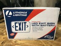 Lithonia Lighting Thermoplastic LED Emergency Exit Sign with Red Letters
