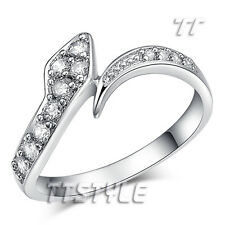Womens TTstyle WGP Sparkling Clear Micro Paved CZ Snake Band Ring NEW