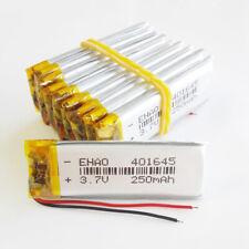 10 pcs EHAO 401645 3.7V 250mAh Lipo Rechargeable Battery For Mp3 GPS headphone