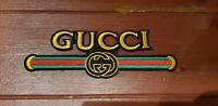 Patch Termosaldabile Stile Gucci Logo E Scritta Ricamo Oro E Verde Rosso vintage