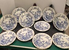 "Set of 11 Wedgwood Ranunculus Blue 8"" Plates Stained Shell-edge Etruria England"