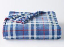 The Big One Super soft Plush Throw Blanket Blue Plaid 60x72 NWT $40