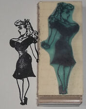 Buxom Beauty vintage pin-up style woman retro rubber stamp by Amazing Arts