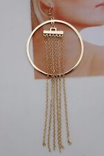 Women Earring Set Gold Metal Long Chains Fringes Hook Large Hoops Hip Hop 80's