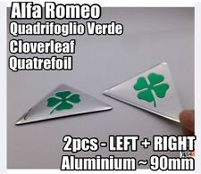 2x Alfa Romeo Quadrifoglio Cloverleaf QV Side Badges METAL 145-159 MiTo 90mm