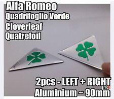 2x Alfa Romeo Quadrifoglio Cloverleaf QV Side Badges METAL 145-159 MiTo 90mm