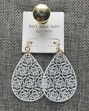 White Rose Drop Earrings Gold Hooks Tell Your Tale