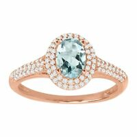 Natural Aquamarine & 1/3 ct Diamond Halo Ring in 14K Rose Gold