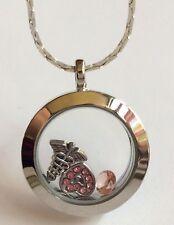 "Nursing Medical Necklace Memory Locket Caduceus Crystal MD RN GraduationGift 20"""