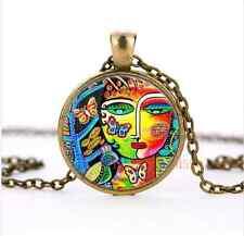 Tree Of Life Paradise Goddess Cabochon Glass Bronze Pendant Necklace jewelry