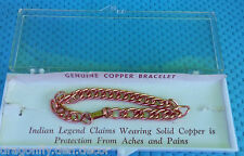 """Genuine Solid Copper 7"""" L Chain Link Therapeutic Indian Legend Bracelet in Box"""
