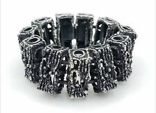 Signed Brutalist Silver Tone Bracelet TT432