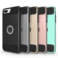 For iPhone X XS 7 8 Plus Ring Holder Stand Case Cover with Tempered Glass Screen