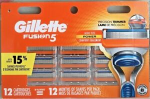Gillette Fusion 5 Razor Blade refills New Packs of 12 Cartridges USA Made Sealed