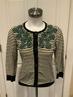 Tabitha Anthropologie Cream & Navy Blue Striped Floral Cardigan, Size XS