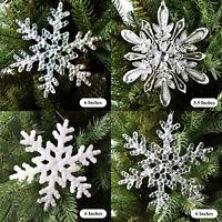 Christmas Fancy Snowflake Ornament Decorations Acrylic Tree Hanging Decor (Pair)