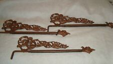 3 Metal Antique Vtg Drapery Swing Arm Curtain Rods Gilded Ornate Expandable