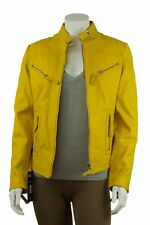 Ladies Yellow Napa Leather Slim Tight Fitted Short Biker Jacket Bike