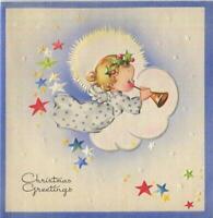 VINTAGE CHRISTMAS BLONDE GIRL ANGEL CHERUB HORN STARS EMBOSSED MCM GREETING CARD