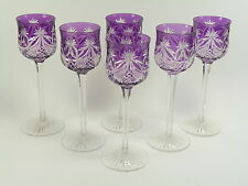 ST LOUIS Crystal - Art DECO Cut - Coloured Hock Glasses - Amethyst Set of 6