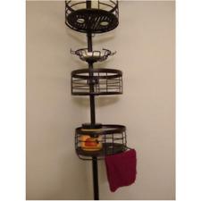 4-Shelf Tension Pole Shower Caddy Tier Storage Corner Organizer Cabinet Bath