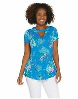 Isaac Mizrahi Live! Floral Printed Knit Peplum Top with Keyhole Blue, Small