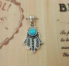 Eye Protection Charm Kabbalah Jewelry Opal Hamsa Pendant Sterling Silver Evil