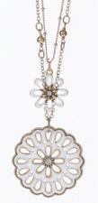 £50 Retro Gold White Daisy Flower Pendant Necklace Swarovski Elements Crystal
