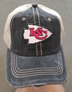 Kansas City Chiefs Distressed Hat Black & Khaki Adjustable Chiefs Baseball Cap