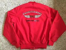 Vtg Barnstormers Waco Biplanes Flight Red Coat Jacket Mens SMALL Advertising