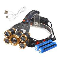 Super-bright 450000LM 5 X T6 18650 LED Headlamp Headlight Flashlight Head Torch