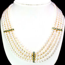 NATURAL! LONDON BLUE TOPAZ, PEARL & RUBY 925 STERLING SILVER NECKLACE 14K GOLD