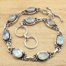 7.5 Inch Fire MOONSTONE Gems Bracelet ! 925 Silver Plated GEMSET