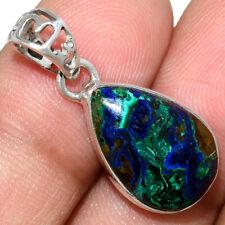 Azurite In Malachite - Morenci Mines 925 Silver Pendant Jewelry AP211567