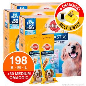 198 Pedigree Dentastix Large Medium Small Igiene Orale Cane - 3x56 + 30 OMAGGIO
